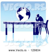 Vector of Business Man Seated at a Table, Facing a Globe over a Blue Background, on a White Surface, Symbolizing Travel, Ecology or International Trade by Tonis Pan