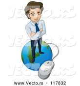 Vector of Business Man Standing on a Globe Connected to a Computer Mouse by Graphics RF