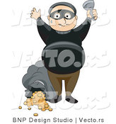Vector of Busted Thief Holding His Hands up After Robbing a Bank by BNP Design Studio