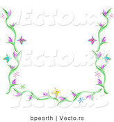 Vector of Butterflies, Dragonflies and Flowers Background Border Design by Bpearth