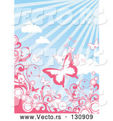 Vector of Butterflies Flying Above Circles and Pink Scrolling Vines over a Sunny Blue Sky Background by OnFocusMedia