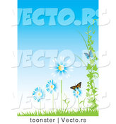 Vector of Butterflies with Blue Flowers, Vines and Grass Against a Blue Sky - Background Design with Copyspace by Toonster