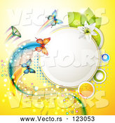Vector of Butterflies with Trails on Yellow with Dots a Lily and a Circle Frame by Merlinul