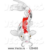Vector of Calico Koi Fish with Red and Black Markings by AtStockIllustration