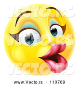 Vector of Cartoon 3d Pretty Female Yellow Smiley Emoji Emoticon Face with Makeup by AtStockIllustration