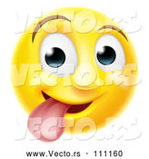 Vector of Cartoon 3d Silly Yellow Smiley Emoji Emoticon Face Sticking His Tongue out by AtStockIllustration