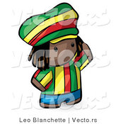Vector of Cartoon African Boy Wearing Bright Green, Yellow, Red, and Blue Clothes by Leo Blanchette