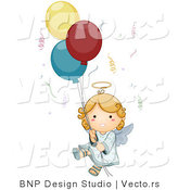 Vector of Cartoon Angel Floating with Confetti and Balloons by BNP Design Studio