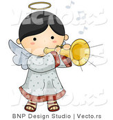 Vector of Cartoon Angel Girl Playing a Horn by BNP Design Studio