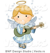 Vector of Cartoon Angel Girl Playing Guitar by BNP Design Studio