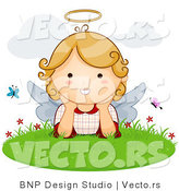 Vector of Cartoon Angel Girl with Butterflies in the Grass by BNP Design Studio
