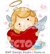 Vector of Cartoon Angel Hugging Heart Pillow by BNP Design Studio