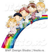 Vector of Cartoon Angels Waving and Riding down Bright Rainbow Slide by BNP Design Studio