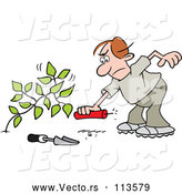 March 24th, 2018: Vector of Cartoon Angry Brunette White Guy Laying a Stick of Dynamite by a Weed by Johnny Sajem