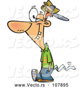 Vector of Cartoon April Foolish Guy Walking with Toilet Paper Tucked in His Pants by Toonaday