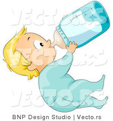 Vector of Cartoon Baby Boy Drinking Milk Formula from a Bottle by BNP Design Studio