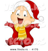 Vector of Cartoon Baby Boy Wearing a Santa Suit by BNP Design Studio