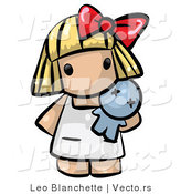 Vector of Cartoon Baby Girl Standing with Toy Doll by Leo Blanchette
