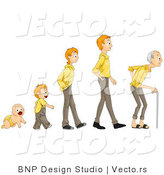 Vector of Cartoon Baby Shown in Stages of Growth from Boy, Teen, Man to Senior Citizen by BNP Design Studio