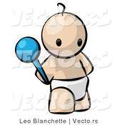Vector of Cartoon Baby Standing with Rattle Toy in Hand by Leo Blanchette