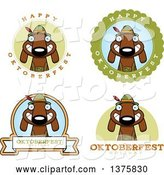 Vector of Cartoon Badges of a German Oktoberfest Dachshund Dog Wearing Lederhosen by Cory Thoman