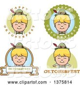 Vector of Cartoon Badges of a Happy Blond Oktoberfest German Boy by Cory Thoman