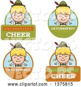Vector of Cartoon Badges of a Happy Blond Oktoberfest German Girl by Cory Thoman