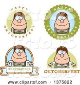 Vector of Cartoon Badges of a Happy Oktoberfest German Guy by Cory Thoman