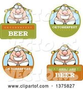 Vector of Cartoon Badges of a Happy Oktoberfest German Lady by Cory Thoman