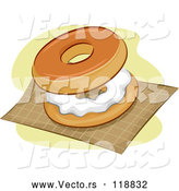 April 30th, 2018: Vector of Cartoon Bagel and Cream Cheese on a Napkin by BNP Design Studio