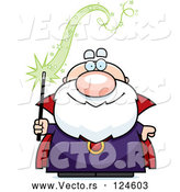 Vector of Cartoon Bald Wizard Holding a Magic Wand by Cory Thoman