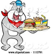 Vector of Cartoon Bbq Bulldog Mascot Drooling over a Tray with a Hot Dog Burger Fries and Soda by LaffToon