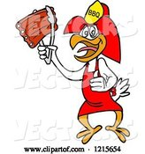 Vector of Cartoon Bbq Fireman Chicken Holding up Ribs with Tongs by LaffToon
