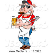 Vector of Cartoon Bbq Pig Chef Holding Tongs, Wearing Sunglasses, Smoking a Cigar and Holding a Beer by LaffToon