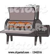 Vector of Cartoon Bbq Smoker with Ribs and Steaks by LaffToon