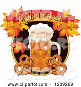 Vector of Cartoon Beer Mug and Soft Pretzels Under an Oktoberfest Banner with Autumn Leaves by Pushkin