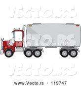 Vector of Cartoon Big Rig Tanker Truck by Djart