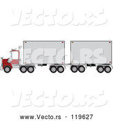 Vector of Cartoon Big Rig Truck with a Double Trailer by Djart