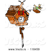Vector of Cartoon Bird Emerging from a Cuckoo Clock by LaffToon