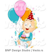 Vector of Cartoon Birthday Baby Boy Surrounded by Confetti, Balloons and Cake by BNP Design Studio