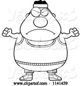 Vector of Cartoon Black and White Angry Plump Gym Guy by Cory Thoman