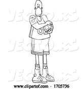 Vector of Cartoon Black and White Basketball Player Wearing a Protective Medical Mask by Djart