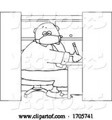 Vector of Cartoon Black and White Business Man Wearing a Covid19 Mask and Working in a Cubicle by Djart