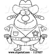 Vector of Cartoon Black and White Chubby Female Cowgirl Sheriff by Cory Thoman