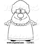 Vector of Cartoon Black and White Chubby Granny in a Pink Dress by Cory Thoman