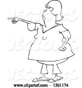 Vector of Cartoon Black and White Chubby Lady with Flabby Arms, Pointing by Djart
