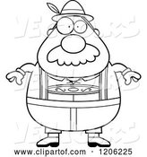 Vector of Cartoon Black and White Chubby Oktoberfest German Guy with a Mustache by Cory Thoman