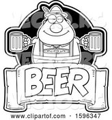 Vector of Cartoon Black and White Chubby Oktoberfest Guy Holding Beer Mugs over a Text Banner by Cory Thoman