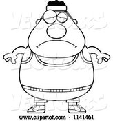 Vector of Cartoon Black and White Depressed Plump Gym Guy by Cory Thoman