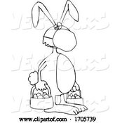 Vector of Cartoon Black and White Easter Bunny Wearing a Protective Medical Mask by Djart